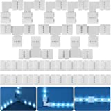 30 Pièces Kit de Connecteur de Bande LED RGB Complet, 4 Broches 10 mm Extension d'Adaptateur sans Soudure Compatible avec Ban