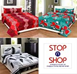 #10: Stop N Shopp Combo Set Of 3 Grace Cotton King Size Double Bedsheet With 6 Pillow Covers