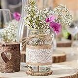 Blumen-Vase/Blumen-Glas mit Jute & weißer Spitze - Rustikal Spitze - Hochzeits-Deko/Tisch-Dekoration Vintage Hochzeit Geburtstag Blumen-Vase (3 Vasen)