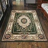 Carpeto Klassisch Orientteppich & Perserteppich mit Orientalisch Ornamente Muster Kurzflor in Grün/Top Preis - ÖKO Tex (60 x 100 cm)