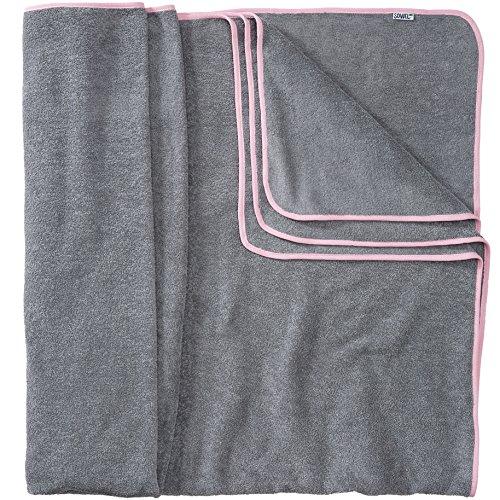 Sowel Serviette Plage XXL, Serviette de Bain Grande Taille pour Les Couples ou Famille, 100% Coton, 160x200 cm, Gris Rose