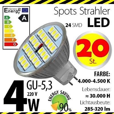 20-er Pack ALMIPEX GU5,3 LED Lampe 4W (320lm - 4500 K - Weiß - 24 x 5050 SMD LED - 120º Abstrahlwinkel - GU5,3 Sockel - 230V AC - 4 Watt - Ø 50×45 mm) von Almipex Swiss GmbH bei Lampenhans.de