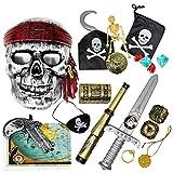15 Juguetes temáticos de Piratas - Accesorios de Disfraz con Espada, Parche de Ojo, Gancho y más- Ideal para regalos de fiestas infantil, Cumpleaños, Halloween, Navidad, para niños y niñas.