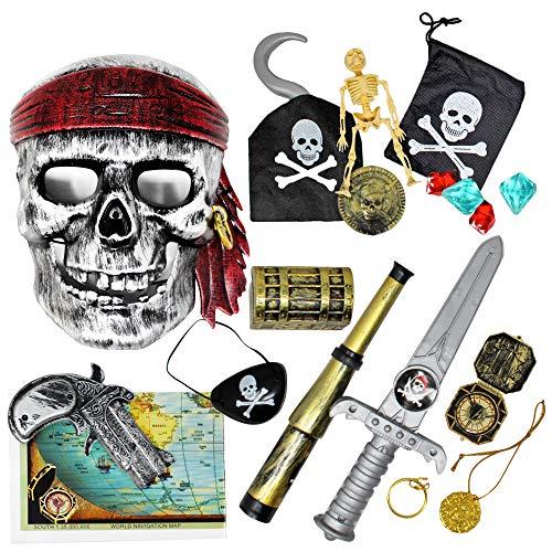 Set Kostüm Piraten - The Twiddlers 15 Spielzeug Piraten Thema Party Kostüm zubehör Set - Ideal Accessoires Für Kindergeburtstag gastgeschenke, Party mitgebsel - Verkleiden mit augenklappe, Schwert, Haken und mehr