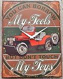 Schmiedegarten Wanduhr Jeep - My Tools - My Toys - aus Metall im Vintage Shabby Stil - Blechschild Hängeuhr - SUV Geländewagen