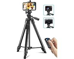 Cocoda Tripode para Movil, 126cm Tripode Cámara Extensible para Grabación de Video, Palo Selfie Tripod con Obturador Remoto B