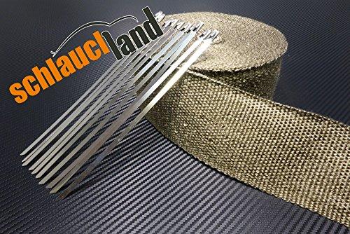 20m Titan Hitzeschutzband 75mm 1400°C + 10 Kabelbinder SCHLAUCHLAND*** Auspuffband Thermoband Krümmerband Heat Wrap Basaltfaser Isolierband Hitzeschutz