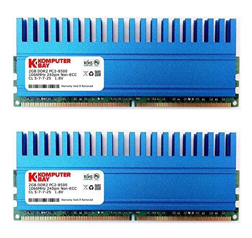 Komputerbay 4GB (2x 2GB) DDR2 DIMM (240 Pin) 1066 MHz PC2-8500 4 GB KIT mit Crown-Serie Wärmeverteiler für zusätzliche Kühlung CL 5-7-7-25 -