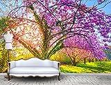 Yosot Fototapete Benutzerdefinierte Tapete Schöne Garten Kirschblüte Kirschbaum Reben Hintergrund Große Wandbilder 3D Wandbild Tapete-140Cmx100Cm