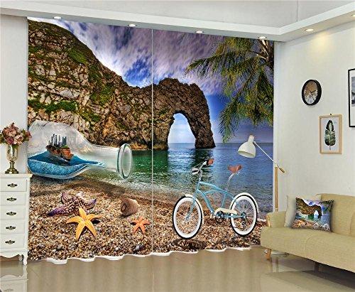 Tendaggi 3d cartoon personality stone veduta di spiaggia stampa digitale tegola nera vetrata solida finestre tendoni camera per bambini decorazione tenda, wide 150x high 166 (wide 75x2)