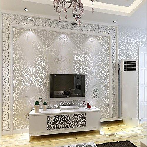Ketian, rotolo di carta da parati con dettaglio di moderno e lussuoso vittoriano damascato strutturato in rilievo, per soggiorno, camera da letto, sfondo tv, in tessuto non tessuto, 0,53m x 10m = 5,3m², pvc, silver, 0.53m (1.73' w) x 10m (32.8' l) = 5.3㎡ (57 sq.ft)