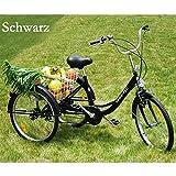 """RMAN Dreirad Für Erwachsene Erwachsenendreirad Seniorenrad Lastenfahrrad 24"""" Shimano 6-Gang-Schaltung Schwarz"""