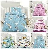 Kinder Bettwäsche, Babybettwäsche 100x135 cm + 40x60 cm 100% Microfaser für Jungen und Mädchen in verschiedenen Designs, Einhorn