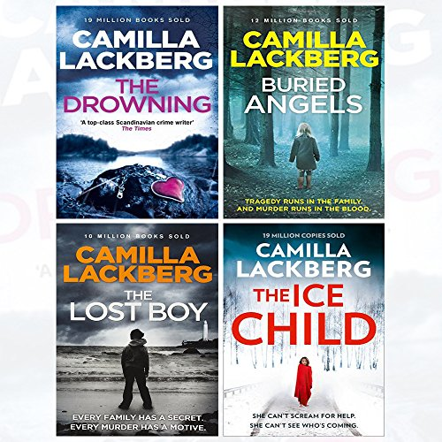 Patrik Hedstrom and Erica Falck 6-9 Camilla Lackberg Collection 4 Books Set (The Drowning, The Lost Boy, Buried Angels, The Ice Child)