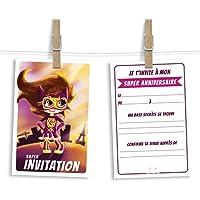 6 cartes et enveloppes invitation anniversaire | Anniversaire fille ou garçon | Thème Super-Héroine