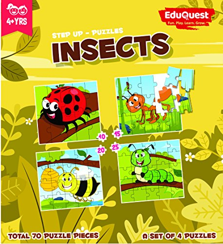 EduQuest - Jigsaw Puzzle - Insects - 4+ years old - Set of 4 puzzles - 10,15,20,25 piece puzzles - Beetle(10 piece), Ant(15 piece), Honey Bee(20 piece), Caterpillar(25 piece)