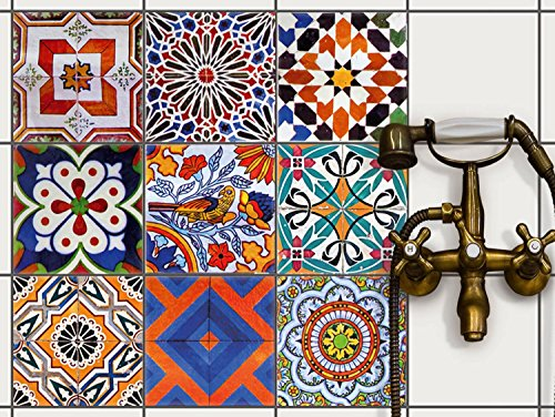 Vinyl Tile Stickers - Wall Tile Transfers | Mosaic Patterns - Bathroom & Kitchen Tile Decals | Self Adhesive Wall Stickers - Backsplash Design Film | 8x8 inches - 20x20 cm / Different Sizes - 9 Pieces