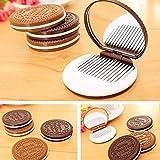Les marques de Kent mignon Chocolat En forme de cookie Motif Maquillage Miroir de poche avec peigne Home Office Utilisation