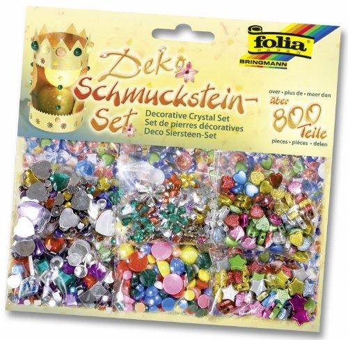 folia Schmucksteine-Set, über 800 teile, farben sortiert