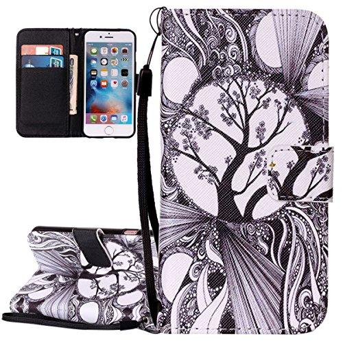 Cover iPhone 6 Plus ISAKEN Drawing Pattern Design Elegante borsa Custodia in Pelle PU per iPhone 6S Plus Sintetica Rigida Case Cover Protettiva Flip Portafoglio Case Cover Protezione Caso con Supporto albero nero