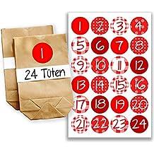 Calendario dell'Avvento fai-da-te, da creare a piacere - mini-kit completi con 24 bustine - Calendario dell'Avvento da riempire - disegno numero