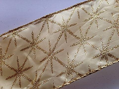 Or Satin bord Sheer filaire ruban de Noël avec étoiles pailletées Doré x 2x 2m
