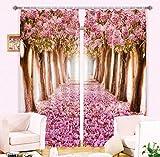 H&M Gardinen Vorhang Romantische Kirsche Wald Schatten Tuch UV EIN warmes dekoriert Schlafzimmerfenster Vorhangstoff fertigen 3D-Druck, Wide 2.03x high 1.6