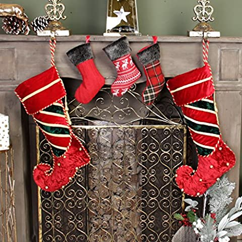 Luxury Christmas Stocking Set - 2 Full Size Traditional Berry Red & Green Crushed Velvet Striped Elf Stockings With Gold Tassel, Piping And Jingle Bell Decoration, H45 x W20cm & Set of 3 Mini Handmade Stockings in Cable Knit, Tartan & Reindeer Designs, H22 cm - Festive Decorations For the Family That Are Full of Character!
