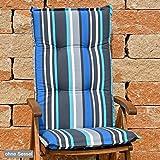 Hochlehner Auflagen 120x50x8 cm in grau blau gestreift SUN GARDEN Villach 20579-110 ohne Sessel