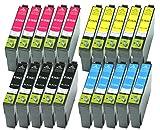 20 XL Druckerpatronen Schwarz, Cyan, Magenta, Yellow ersetzen Epson T1631 T1632 T1633 T1634 Nr.16 Nr.16XL geeignet z.B. für Epson WorkForce WF-2010, WF-2510, WF-2520, WF-2530, WF-2540, WF-2630, WF-2650, WF-2660, WF-2750, WF-2760