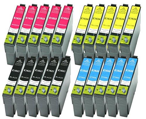 20 XL Druckerpatronen ersetzen Epson T1631 T1632 T1633 T1634 Nr.16 Nr.16XL geeignet z.B. für Epson Workforce WF-2010 WF-2510 WF-2520 WF-2530 WF-2540 WF-2630 WF-2650 WF-2660 WF-2750 WF-2760