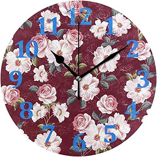 Mitta Yane Round Clock Reloj De Pared De Flores Vintage Relojes De Pared Decorativos Relojes Silenciosos Sin Tictac para Decoración...