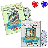 Blockflötenbox Band 1 + 2 - Blockflötenschule von Daniel Hellbach - mit 4 CDs und 2 bunten herzförmigen Notenklammer