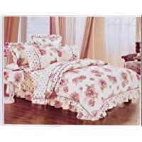 Gifty Set of Cotton Double Luxurious Comforter and Queen Size Bedsheets with 2 Frill Pillow Covers (Pink)