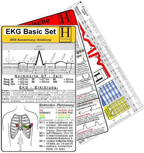 EKG Basic Set - Medizinische Taschen-Karte: EKG-Lineal /EKG-Auswertungskarte /Herzrhythmusstörungen Karte