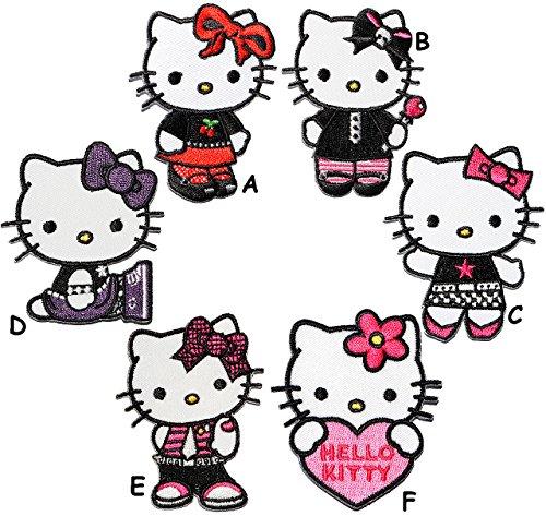 alles-meine.de GmbH 6 Stück _ Aufnäher / Bügelbilder -  Hello Kitty  - 5,7 cm * 6,5 cm - Aufnäher Applikation - Jungen & Mädchen - gestickter Flicken - Katze / Kätzchen - Blum.. (Licht Kitty Hello)
