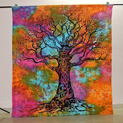 shivansh Creations Baumwolle Hippie-Mandala Wandbehang Bohemian Überwurf Decor Tagesdecke tapesteries Pre Weihnachten Designer Collection Verkauf (Multi Farbe (8) (Tie Dye Farbe Multi)