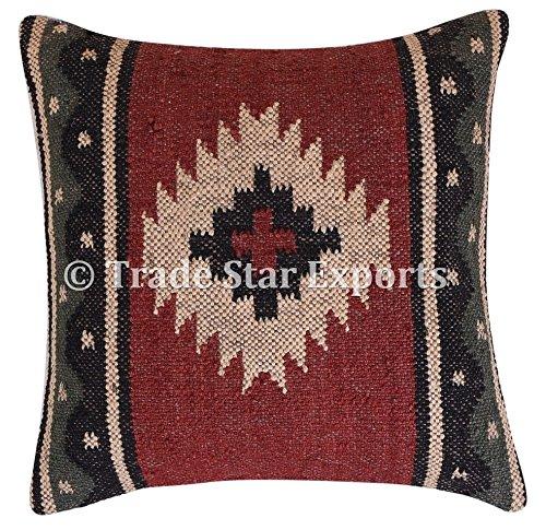 TRADE STAR EXPORTS Vintage Kilim Funda de Almohada, Tejida a Mano, Yute cojín, Kelim Almohadas Decorativas...
