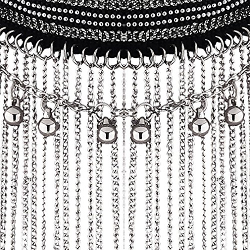YAZILIND Déclaration Femmes Charme Collier frangée oreilles pendantes Boucles d'oreilles Forme Bijoux Idée Set cadeau Argent Argent