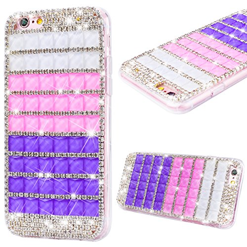 Coque iPhone 6s / iPhone 6 GrandEver Rigide Dur Luxe Protection Ultra Fine 3D Diamant Gradient Couleur Once Piece Housse Cover Glitter Bling Diamond Etui Case pour iPhone 6/6s --- Rose Violet 01