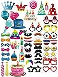 MotGlobal 52 pcs Photo Booth Props Kit Festa Forniture DIY Accessori per Compleanno del Partito