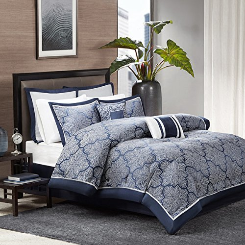Comforter Set Queen / King / California King Blue / Black Duvet Cover 7 Piece Luxury Bedding Sham Pillow Medina (Navy, King) by Madison Park -