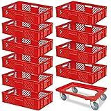 10 Stapelkörbe, Euro-Format LxBxH 600 x 400 x 150 mm, Industriequalität, lebensmittelecht, rot + GRATIS Transportroller