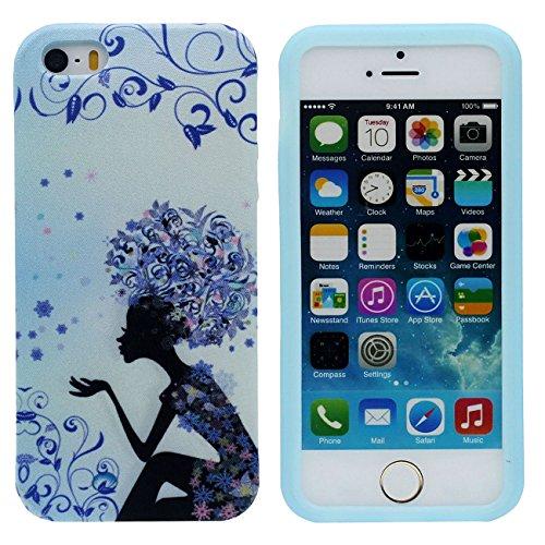 iPhone 5S Coque Mince et léger, Tissu & Plastique Hybride Doux Gel Motif Style Beau Housse de Protection Case pour Apple iPhone 5 5S SE 5G bleu-3