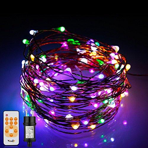 Vorally Catene Luminose 20M 200 LED con Telecomando, IP65 Impermeabile Filo di Rame Luci Decorative Camera Multicolore Per Natale, Anno Nuovo, Matrimonio, Bar,Esterno ed Interno Trasformatore DC 6V 1A [Classe di efficienza energetica A+]