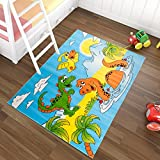 Tapiso Kinder Teppich Kurzflor Kinderteppich Spielteppich Dino Dinosaurier Teich Muster Blau Gelb Bunt Kinderzimmer ÖKOTEX 300 x 400 cm