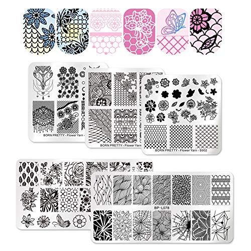 BORN PRETTY Nail Art Stamping Templates Flower Butterfly Grid Lace Bride Line 5Pcs Stamp Plates Set Manicure Print Templates -