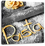 Pasta vor Nudelholz schwarz/weiß, Format: 40x40 auf Leinwand, XXL riesige Bilder fertig gerahmt mit Keilrahmen, Kunstdruck auf Wandbild mit Rahmen, günstiger als Gemälde oder Ölbild, kein Poster oder Plakat