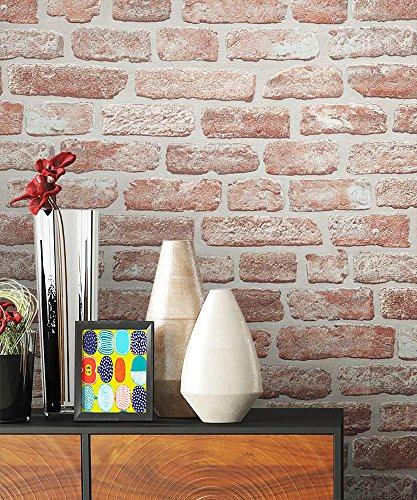 NEWROOM Steintapete rot Vliestapete braun Jung,Modern,Stein Muster/Motiv schöne moderne und edle Design 3D Optik , inklusive Tapezier Ratgeber