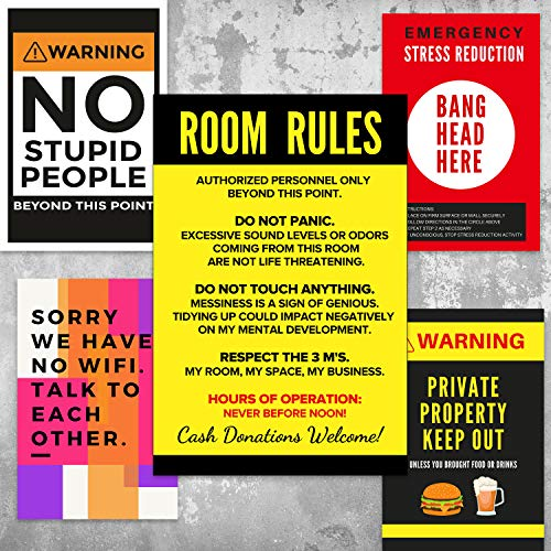 R Social Paper Big Funny Posters for Room, Office, Door Wall  11 x 17 Inch  Set of 6 Prints